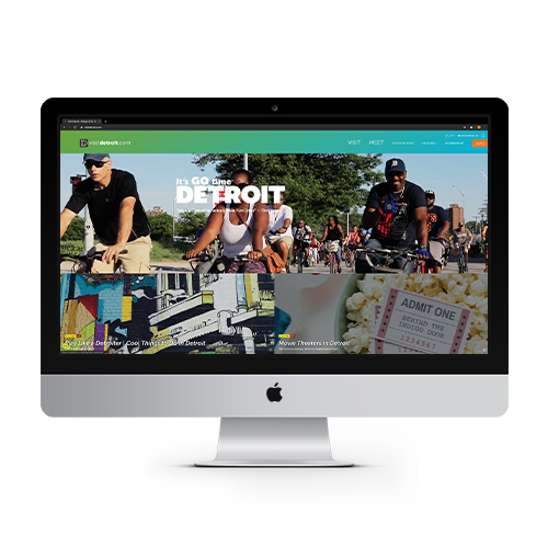 visitdetroit.com web page on Apple monitor