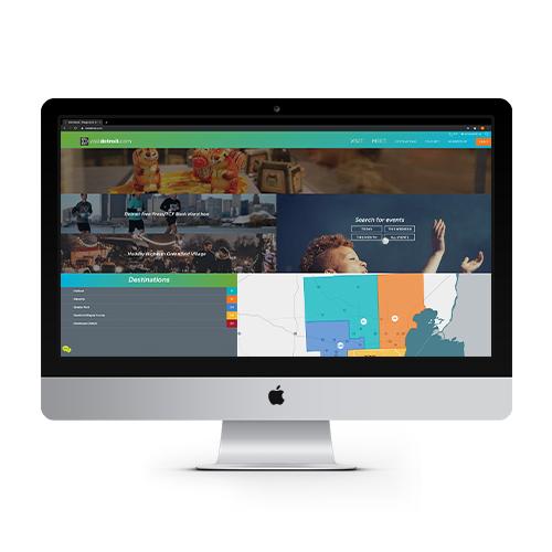 visitdetroit.com web page on Apple monitor