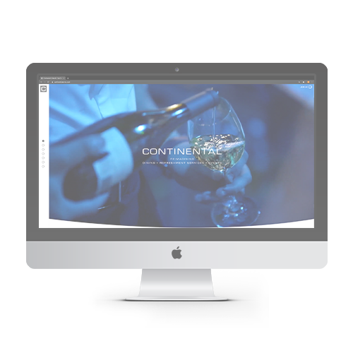 Continental Services web page on Apple monitor