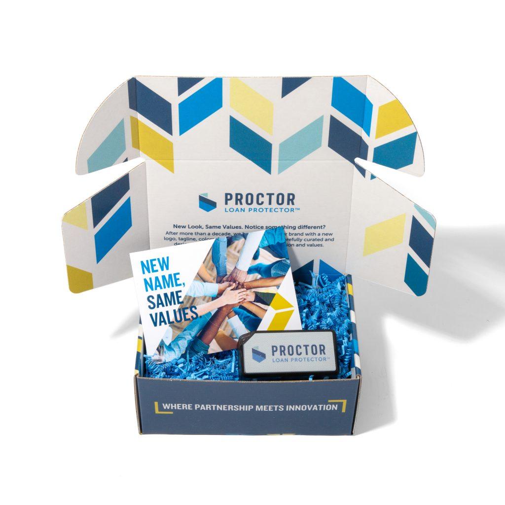 Proctor Financial branded box open